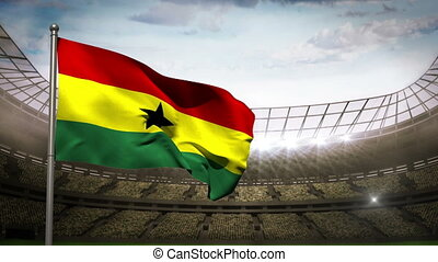 Ghana national flag waving on stadi - Ghana flag waving on...