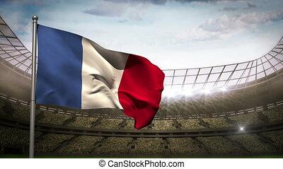 France national flag waving on stad - France national flag...