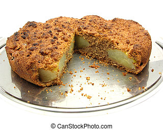 Sliced wholemeal  pear cake on a cake plate