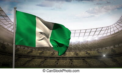 Nigeria national flag waving on sta - Nigeria flag waving on...