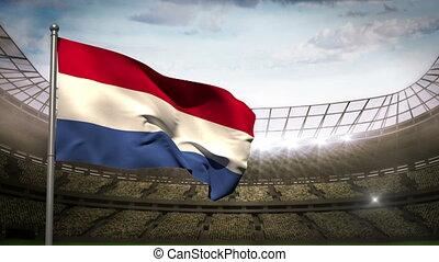 Netherlands national flag waving on - Netherlands flag...