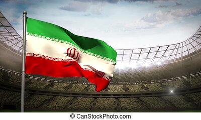 Iran national flag waving on stadiu - Iran flag waving on...
