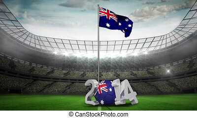 Australia national flag waving in football stadium with 2014...