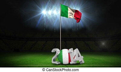 Italy national flag waving on football pitch on black...