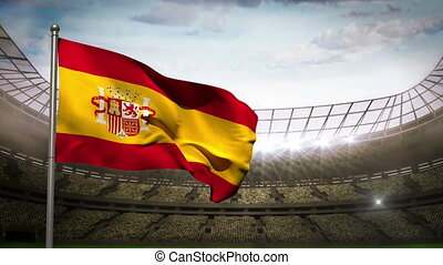 Spain national flag waving on stadi - Spain national flag...