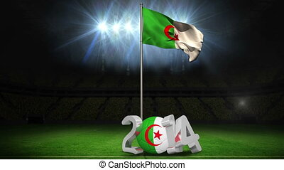 Algeria national flag waving on football pitch on black...