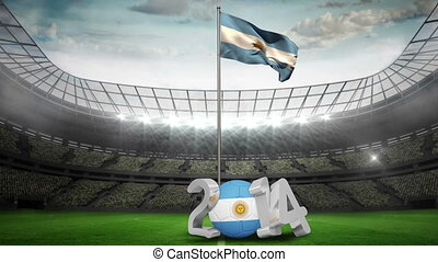 Argentina national flag waving in f - Argentina national...