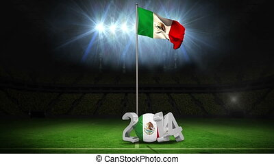 Mexico national flag waving on football pitch on black...