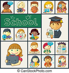 Set Of School Icons With Kids - Cute school children -...