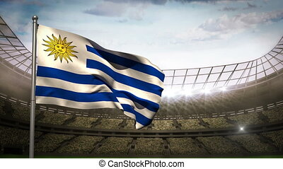 Uruguay national flag waving on sta - Uruguay national flag...