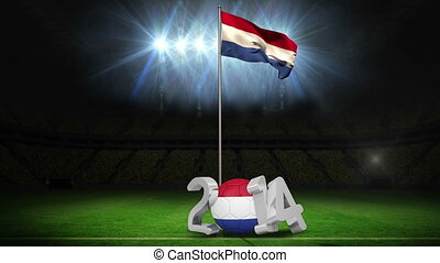 Netherlands national flag waving on football pitch on black...