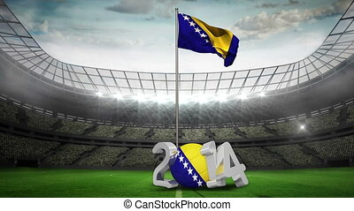 Bosnia and Herzegovina national flag in football stadium...