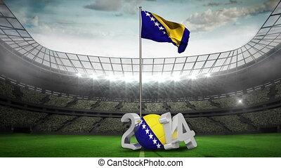 Bosnia and Herzegovina national flag in football stadium...