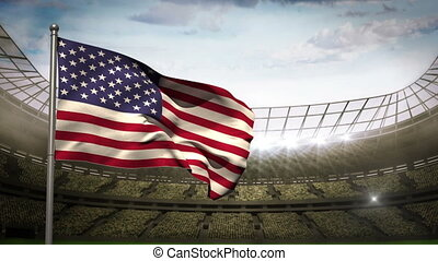 United states of america national flag waving on flagpole on...
