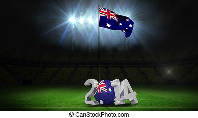 Australia national flag waving on football pitch on black...