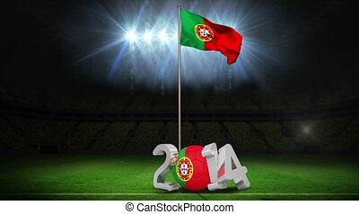 Portugal national flag waving on football pitch on black...