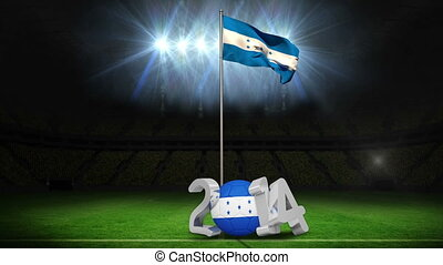 Honduras national flag waving on football pitch on black...