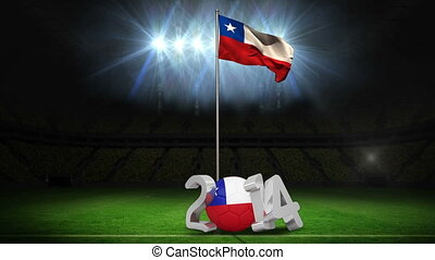 Chile national flag waving on football pitch on black...