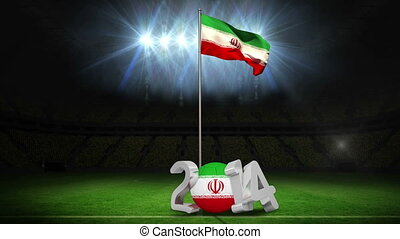 Iran national flag waving on football pitch on black...