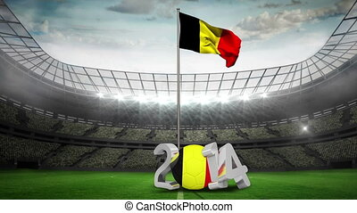 Belgium national flag waving in football stadium with 2014...