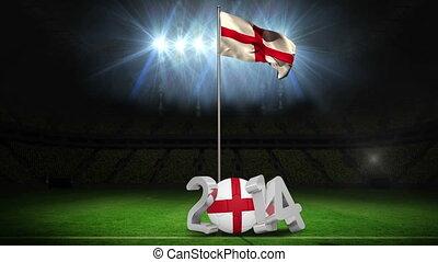 England national flag waving on foo