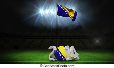 Bosnia and herzegovina national flag waving on football...