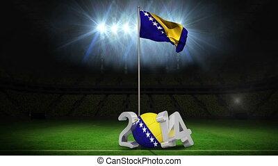 Bosnia and herzegovina national flag waving on football...