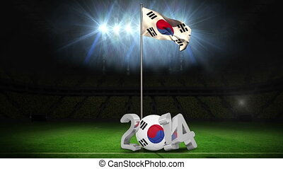 Korea Republic national flag waving on football pitch on...
