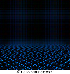 Neon blue platform and grid - Illustration of background...