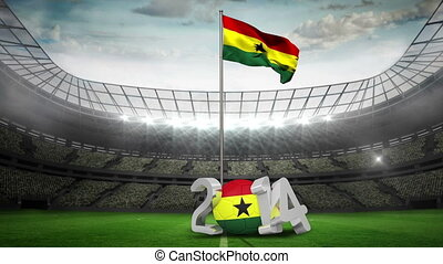 Ghana national flag waving in football stadium with 2014...