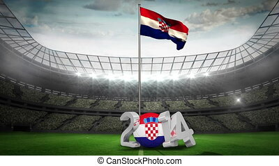Croatia national flag waving in football stadium with 2014...