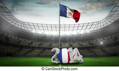 France national flag waving in football stadium with 2014...