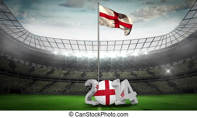 England national flag waving in football stadium with 2014...