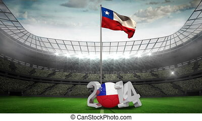 Chile national flag waving in footb - Chile national flag...