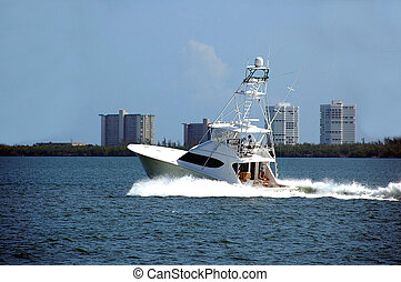 sport fishing boat photographed on the east coast of florida...