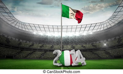 Italy national flag waving on flagpole in football stadium...
