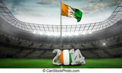 Ivory Coast national flag waving on flagpole in football...