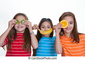 kids with healthy diet of fruit. - happy kids with healthy...