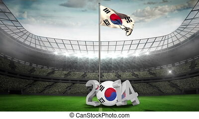 Korea Republic flag waving on flagpole in football stadium...