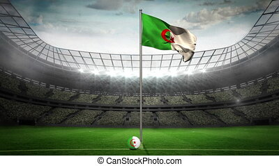 Algeria national flag waving on fla - Algeria flag national...