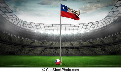 Chile national flag waving on flagpole in football stadium...