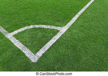 Football field corner green turf