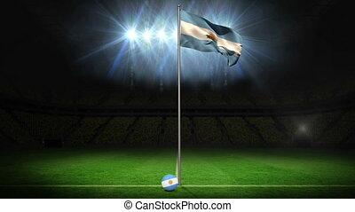 Argentina national flag waving on flagpole on football pitch...