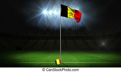 Belgium national flag waving on flagpole on football pitch...