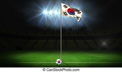 Korea Republic national flag waving on flagpole on football...