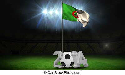 Algeria national flag waving on flagpole on football pitch...