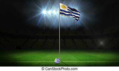 Uruguay national flag waving on flagpole on football pitch...