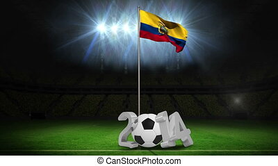 Ecuador national flag waving on pole with 2014 message on...