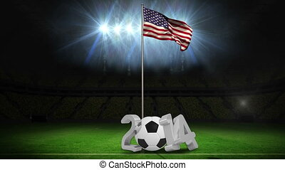 United States national flag waving on pole with 2014 message...