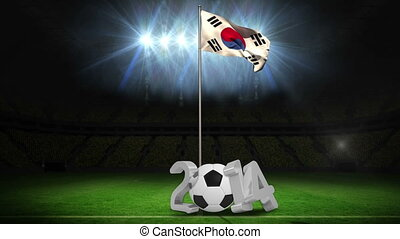 Korea republic national flag waving on pole with 2014...